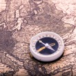 Compass on the world map - Stockfoto