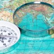 Compass and magnifying glass — Foto Stock