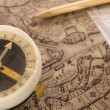 Foto Stock: Compass with map