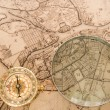 Stock fotografie: Compass with map