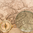 图库照片: Compass with map