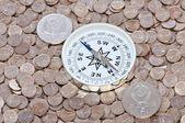 Oposición de un curso de dos monedas — Foto de Stock