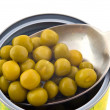 Canned food green peas - Stock Photo