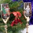 Two glasses with a fur-tree — Stock Photo