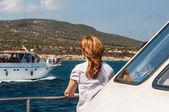 Girl on boat — Stock Photo