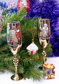 Two glasses with a fur-tree — Stok fotoğraf