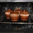 Pot in the oven — Stock Photo