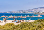 Beach umbrellas cyprus — Stockfoto