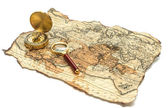 Mapa antigo com bússola — Fotografia Stock