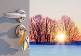 Open door sunset in winter — Stock Photo