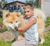 A boy with a dog — Stock Photo