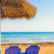 Beach umbrellas cyprus — Stock Photo