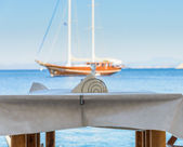 カフェから海の景色 — ストック写真
