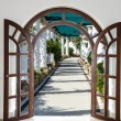 Stock Photo: Open door arch with access to alley