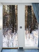 Offene tür und ein winterwald — Stockfoto