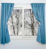 Closed window with curtains in rainy autumn weather — Stock Photo