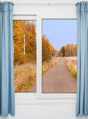 View from the window on the road and autumn landscape — Stock Photo