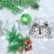 Christmas clock five minutes left — Stock Photo