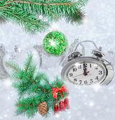 Christmas clock five minutes left — Stock Photo