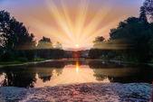 Coucher de soleil dans les nuages — Photo