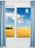 Nature landscape with a view through a window with curtains — Stock Photo