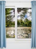 Vista da janela da porta no início da manhã — Foto Stock