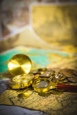 Card with coins — Stockfoto