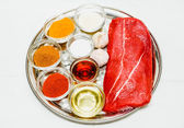 Cooking beef steak — Stock Photo