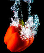 Pepper dive into water — Stock Photo
