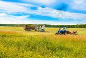 Traktor med en hö — Stockfoto