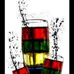 Coloured Glasses With Splash — Stock Photo