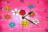Ladybird Clock Pink — Stock Photo