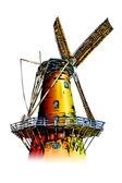 Windmill color illustration — Stock Photo