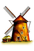 Windmill illustration — Stock Photo