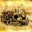 Steam engine art design drawing — Stock Photo
