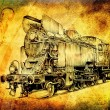 Steam engine art design drawing — Stock Photo #27835149