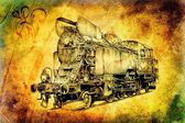 Steam engine art design drawing — Stock Photo