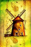 Windmill drawing design art color — Stok fotoğraf