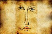 Face abstract idea drawing retro — Stock Photo