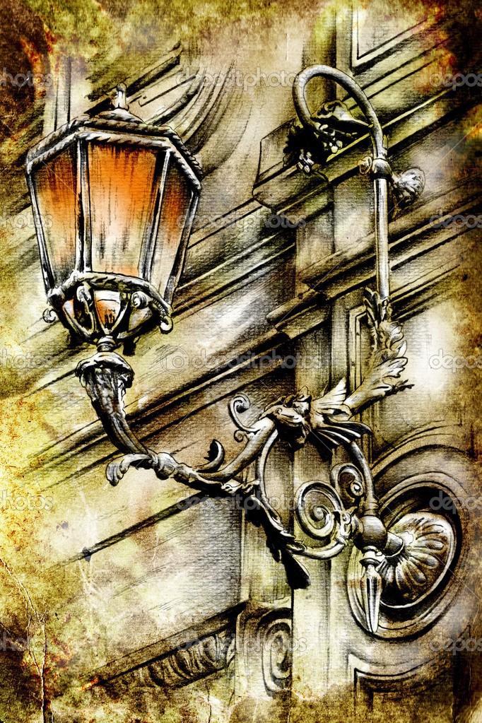 Arte retro vintage lámpara dibujo divertido — Foto de stock ...