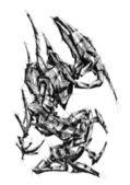 Robot cyborg art drawing fantasy — Stock Photo