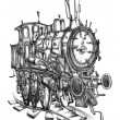 Steam engine art design drawing surreal — Stock Photo