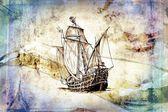 Antika tekne deniz güdü çizim el yapımı — Stok fotoğraf