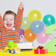 Adorable little boy celebrating second birthday — Stock Photo