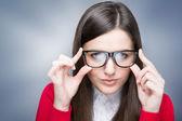 Confident businesswoman with nerd glasses — Stock Photo