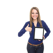 Happy young woman with digital tablet showing thumb up — Stock Photo