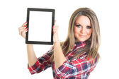 Young student showing blank digital tablet screen — Stock Photo