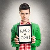 Genç adam bir işe ihtiyacı var — Stok fotoğraf
