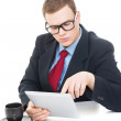 Young businessman wearing suit working on digital tablet — Foto Stock