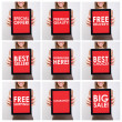 Collage of shopping related texts on red tablet screen — Stock Photo